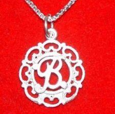 LOOK 1266 Charm Initial Letter B Elegant Silver Pendant