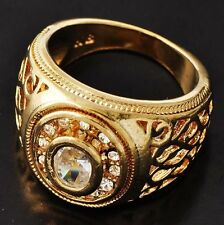 Wedding Impressive Men's Yellow Gold Filled Clear CZ Ring Size 10 Free Shipping