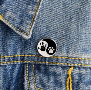 Animal Lover Cat Dog Pin Badge Brooch Pet Paw Palm Yin Yang Enamel Jewellery