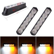 2x Car Truck 6 LED Light Beacon Emergency Lamp Hazard Strobe Warning White Amber