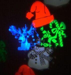 LED Xmas Indoor Projector tree santa hat reindeer design auto + sound responsive