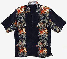 Sz M BOX-OFFICE ISLAND Hawaiian Aloha Shirt TIGER & DRAGON Navy/Orange Poly