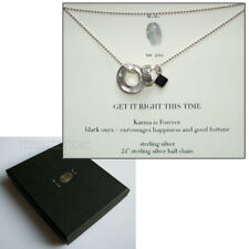 "b.u. 925 Sterling Silver Karma, Ring, Onyx Gem & 24"" Ball Chain Necklace BOXED"