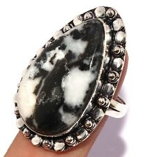 WHITE TURQUOISE 925 SILVER PLATED RING US 9.5, AB6792