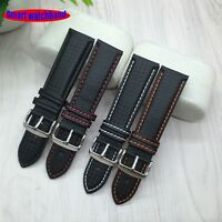 18mm 20mm 22mm 24mm Black Red Stitching Carbon Fiber Leather Watch Band Strap