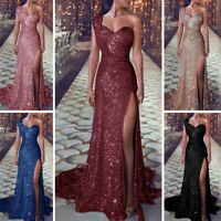 Sexy Womens Sequin Maxi Dress Wedding Cocktail Prom Evening Party Long Ball Gown