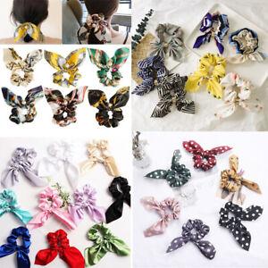 Women Floral Printed Bow Streamer Scrunchies Pearl Ponytail Hair Rope Hair Ties*
