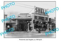 OLD 8x6 PHOTO OF WOOLOOWIN SERVICE STATION c1935 PLUME CASTROL SHELL TEXACO
