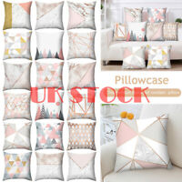 Rose Gold Cushion Cover Pink&Grey Decor Geometric Marble Pillow Case Home Sofa