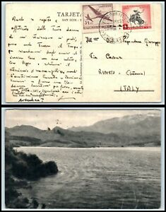 ca 1954 URUGAUY Postcard - to Riposto, ITALY, Air Mail E14