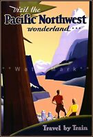 Visit The Pacific Northwest Wonderland 1960 Vintage Poster Print Retro Style Art