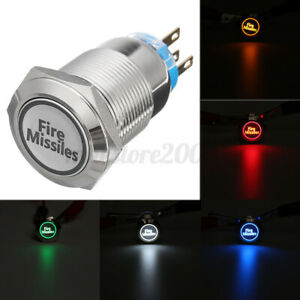 12V 19mm 5 PIN Momentary Push Button Red LED Light Fire Missiles Metal Switch