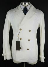 NWT $1590 GUCCI White Cotton-Linen Double Breasted Coat Jacket 40 M (50 EU)