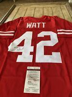T.J. Watt Autographed/Signed Jersey JSA COA Wisconsin Pittsburgh Steelers TJ