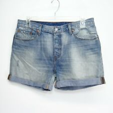 New Levis Womens Up-Cycled 501 CT 100% Cotton Denim Cuffed Hem Jeans Shorts 32