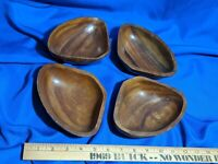 Lot 4 Mid Century Modern Hand Carved Wooden Bowls Dishes VTG Retro