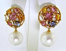 UTOPIA 18 KT. GOLD SOUTH SEA PEARLS MULTI COLOR SAPPHIRES DIAMONDS EARRINGS