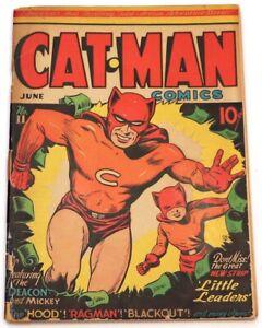 CAT-MAN COMICS #11 (THE CAT-MAN & THE KITTEN, VOLTON & MORE, RARE, HOLYOKE 1942)