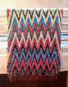 Vintage moroccan boucherouite rag rug 168 x 125cm  5ft6 x 4ft1