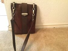 MARK CROSS Brown Leather  Flap Pushlock Cross Body made in Italy