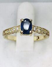 14k Solid Yellow gold Natural Diamond Ceylon Sapphire  ring September Birthstone