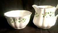 Vintage ROYAL TARA Ireland Trellis Shamrock Creamer & Open Sugar Bowl Set