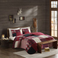 NEW! ~ COZY SOFT LODGE LOG CABIN COUNTRY WESTERN BEIGE GREY RED BLACK QUILT SET