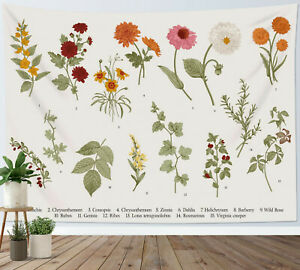 Flower Tapestry Illustrative Reference Chart Wall Hanging Living Room Bedroom