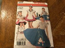 Simplicity Pattern 3836 Girls RETRO 50's Poodle Skirt~Top & Car Hop Outfit CUTE!