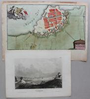 kolorierter Plan & Stahlstichansicht Gothenburg um 1650 & 1830 Schweden sf