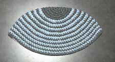 Freak Frik Kippah Yarmulke Yamaka Crochet Aqua Gray Thin Stripes Israel 21 cm