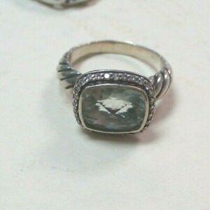 David Yurman Prasiolite and Diamond Accent 925 Silver Ring Size 6