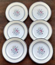 Royal Doulton Canterbury Six Accent Luncheon Plates Blue Purple Yellow Floral