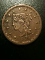 1856 Braided Hair Large Cent AU About Uncirculated One Penny xf Liberty Variety