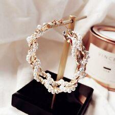 Fashion Geometric Gold/Silver Big Circle Pearl Hoop Earrings Korean Jewelry Gift