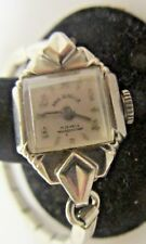 VINTAGE PAUL DURELLE WOMEN'S SILVER TONE ART DECO WATCH 17 JEWELS F-D BM BEZEL