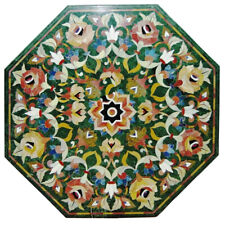 """24""""x24"""" Green Color Marble Coffee side Center Table Top Inlay Work Handmade Work"""