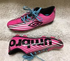 YOUTH GIRL'S UMBRO SOCCER CLEATS SIZE 3.5 PINK / Blk LACE UP