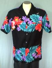 Kalena Fashions of Hawaii Black Medium Hawaiian Shirt Polyester