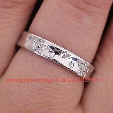 Real Genuine Solid 9k White Gold Engagement Wedding Ring Band Simulated Diamonds