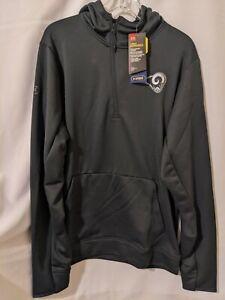 NWT Under Armour Los Angeles Rams Infrared Mens 1/2 Zip Hooded Sweatshirt Sz L