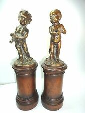 Vintage Bronze Boy & Girl Cherub Unique Pair Of Figurines infants on wood stand