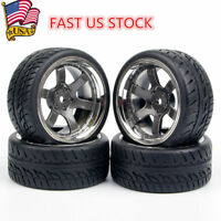 US 4Pcs 1:10 12mm Hex Rubber Tires&Wheel Rims For HSP HPI RC Car Model Gifts Toy
