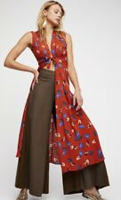 NEW FREE PEOPLE Sz M PRINTED LONG FLORAL MAXI VEST TIE FRONT DUSTER RUST $128