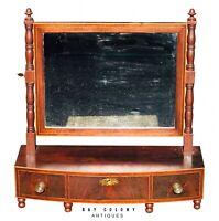 19th Century Antique Federal Period Mahogany Shaving Mirror