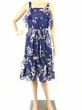 Eliza J W340 Womens Sz 4P Blue Floral Fluttery Ruffle Bow Layered Babydoll Dress