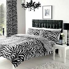 ZEBRA & LEOPARD PRINT REVERSIBLE DOUBLE DUVET COVER SET NEW BEDDING