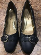SOFT STYLE HUSH PUPPIES SHOES WOMEN'S SZ 7 M BLACK ALL MAN MADE MATERIALS