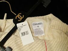 CHANEL Skirt Cruise Beige Red Textured Fabric 100% Silk lined + Tag + Hanger 38