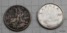 1961 & 1965 Canada Canadian  Dime 10 Cent coins Elizabeth II